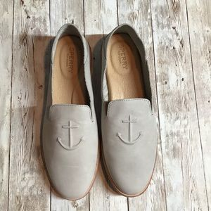Sperry Women's Seaport Levy Leather Shoes Gray